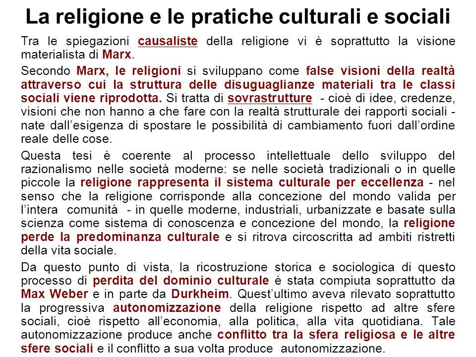 La religione e le pratiche culturali e sociali