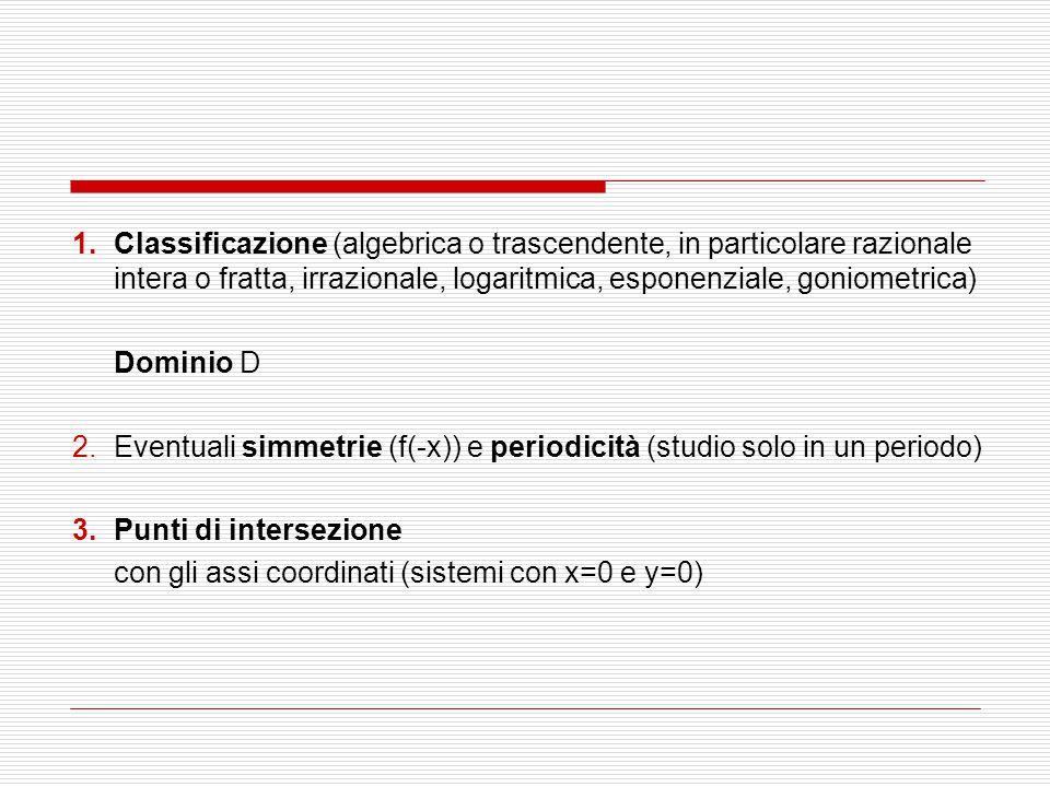 Classificazione (algebrica o trascendente, in particolare razionale intera o fratta, irrazionale, logaritmica, esponenziale, goniometrica)