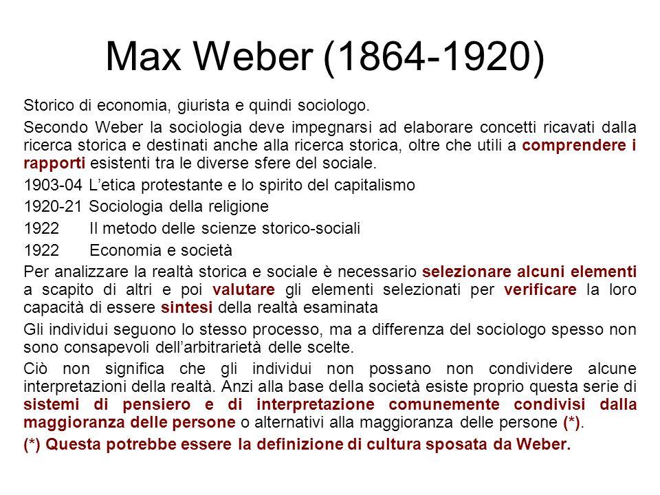 Max Weber (1864-1920) Storico di economia, giurista e quindi sociologo.