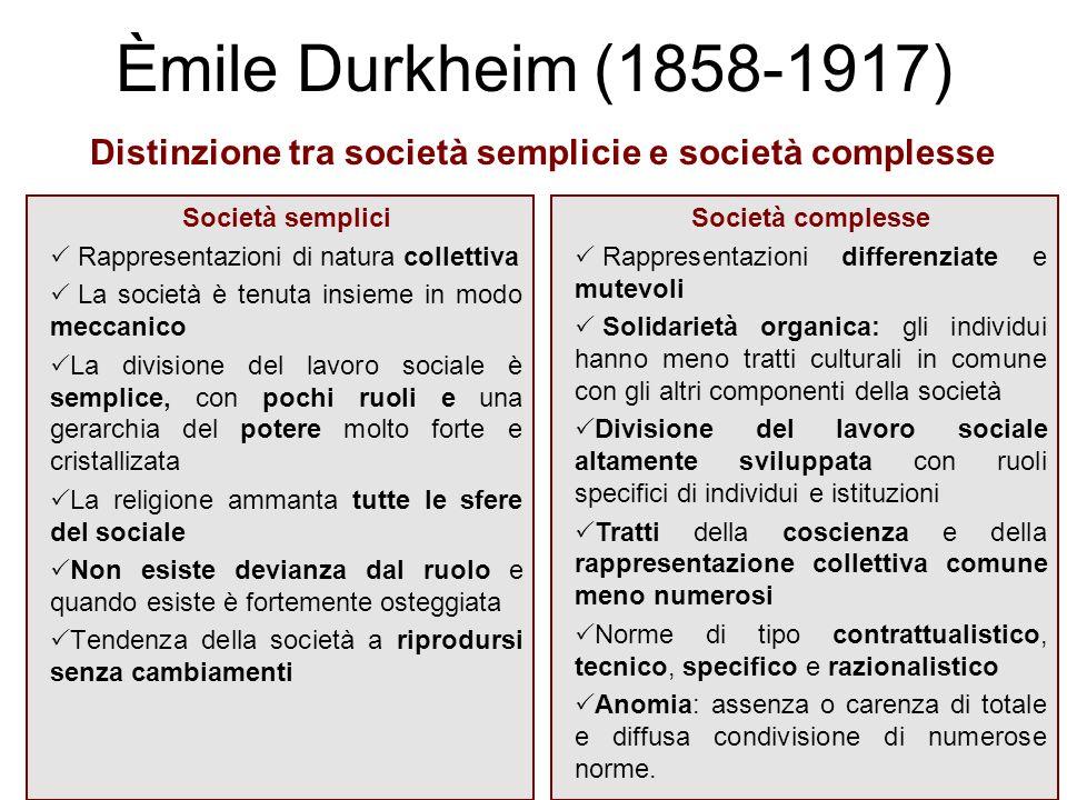 Distinzione tra società semplicie e società complesse