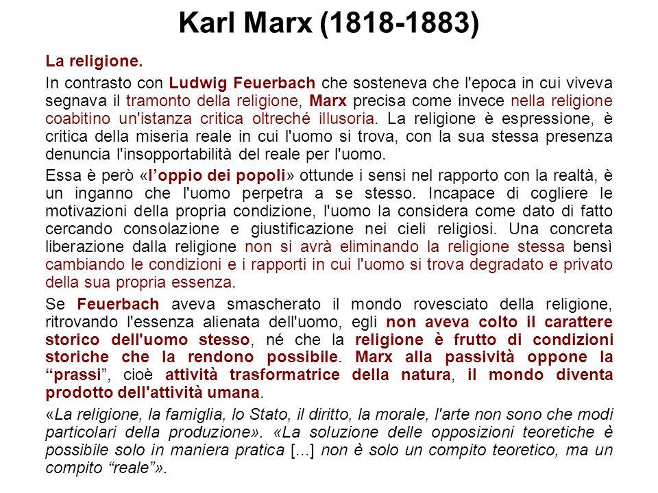 Karl Marx (1818-1883) La religione.