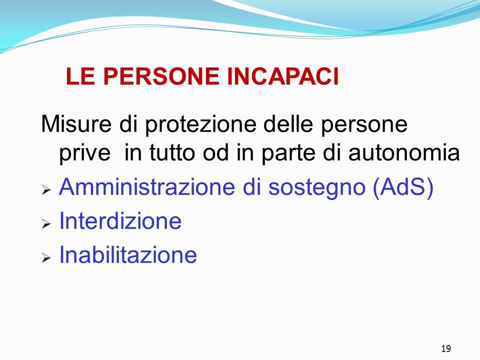 Amministrazione di sostegno (AdS) Interdizione Inabilitazione