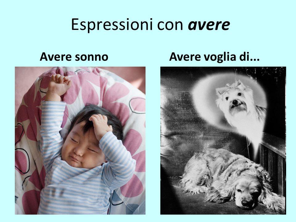 Espressioni con avere Avere sonno Avere voglia di...