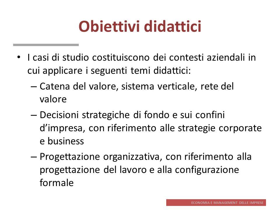 Obiettivi didattici I casi di studio costituiscono dei contesti aziendali in cui applicare i seguenti temi didattici: