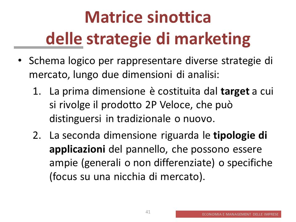 Matrice sinottica delle strategie di marketing