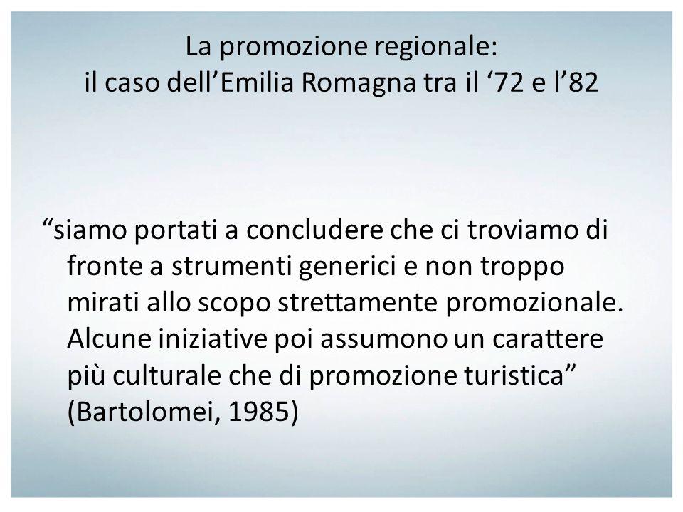 La promozione regionale: il caso dell'Emilia Romagna tra il '72 e l'82