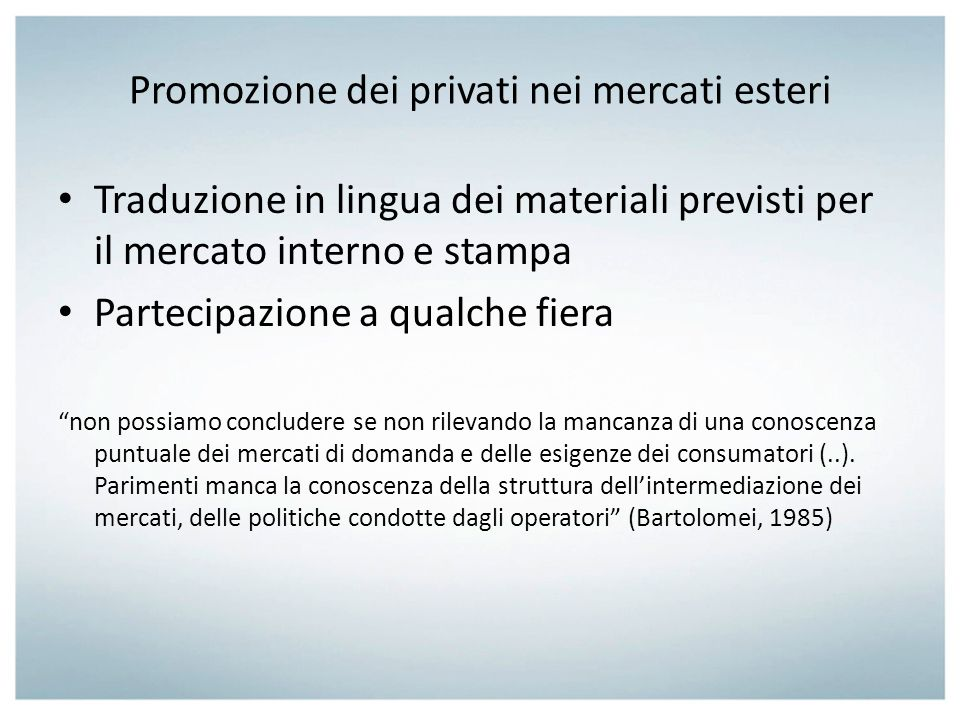 Promozione dei privati nei mercati esteri