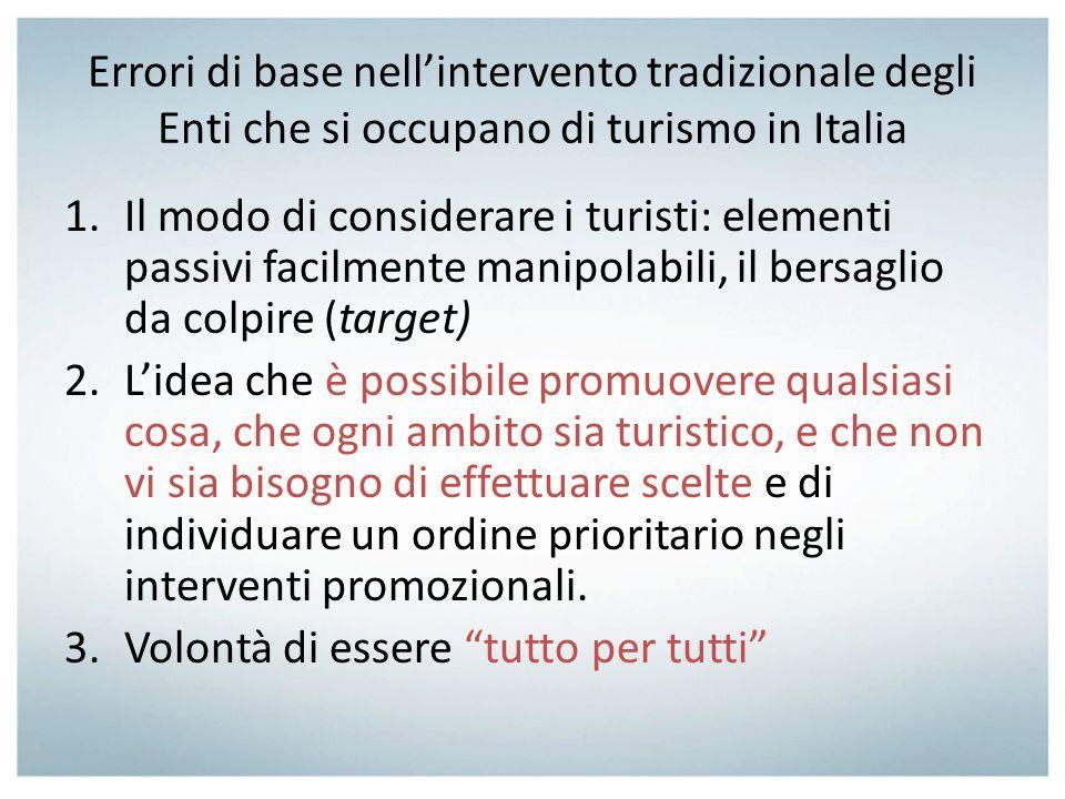 Errori di base nell'intervento tradizionale degli Enti che si occupano di turismo in Italia