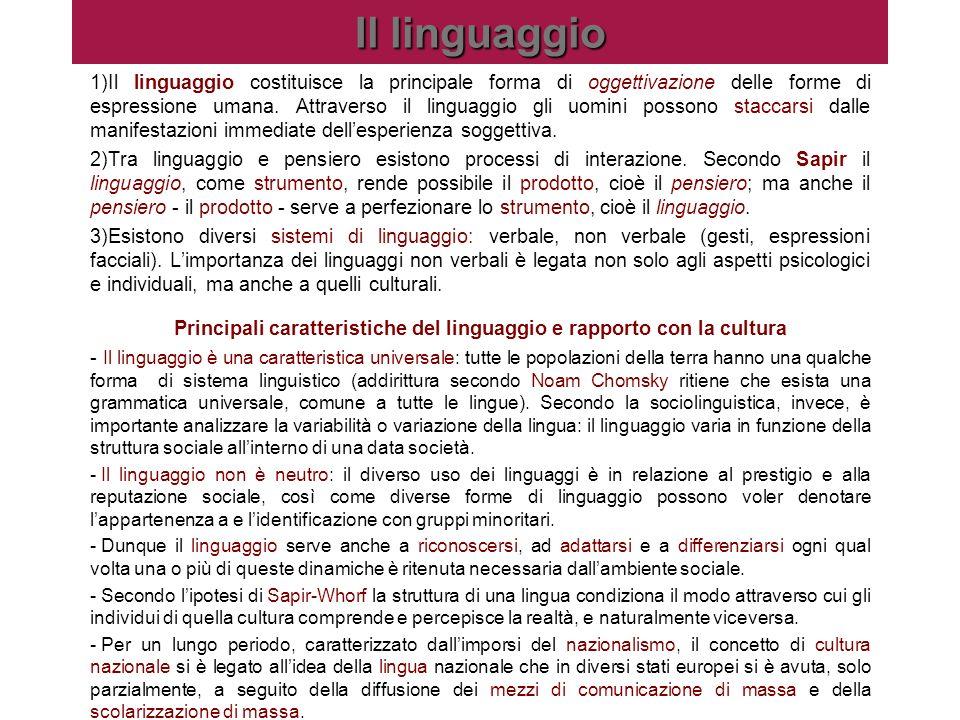 Principali caratteristiche del linguaggio e rapporto con la cultura