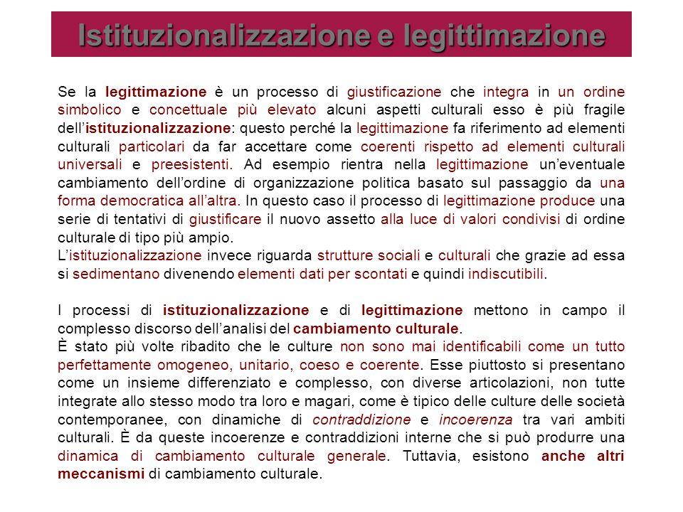 Istituzionalizzazione e legittimazione