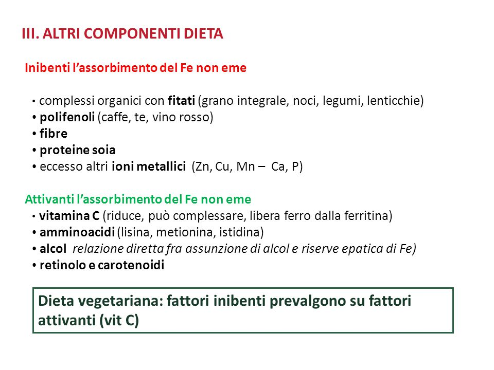 III. ALTRI COMPONENTI DIETA