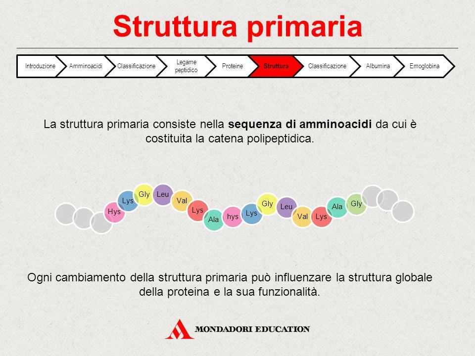 Struttura primaria Introduzione. Amminoacidi. Classificazione. Legame peptidico. Proteine. Struttura.
