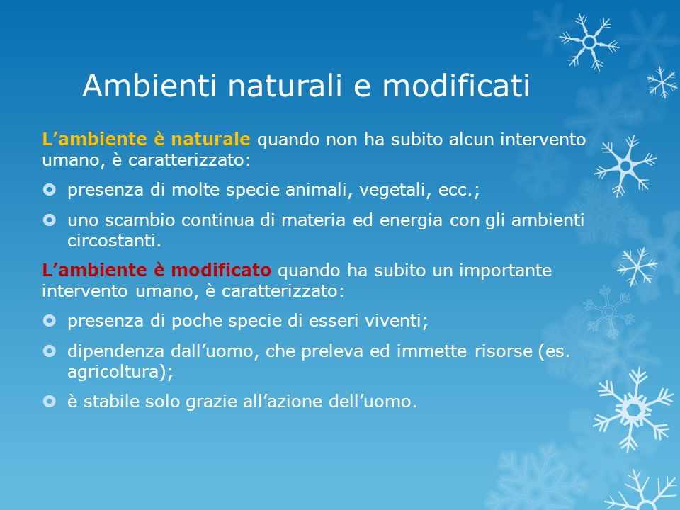 Ambienti naturali e modificati