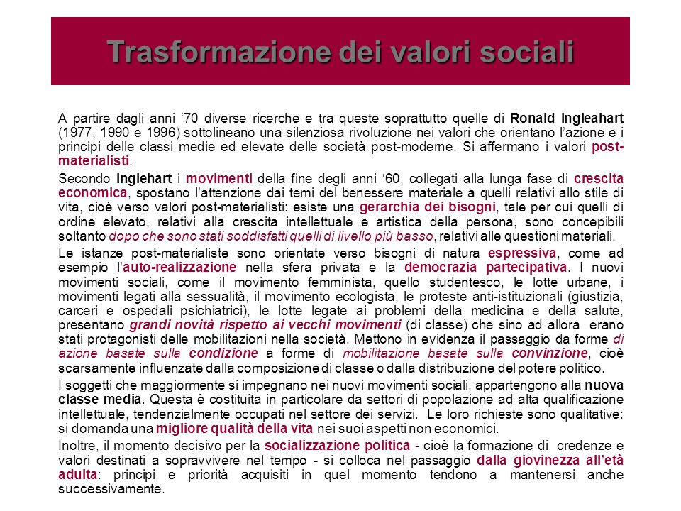 Trasformazione dei valori sociali