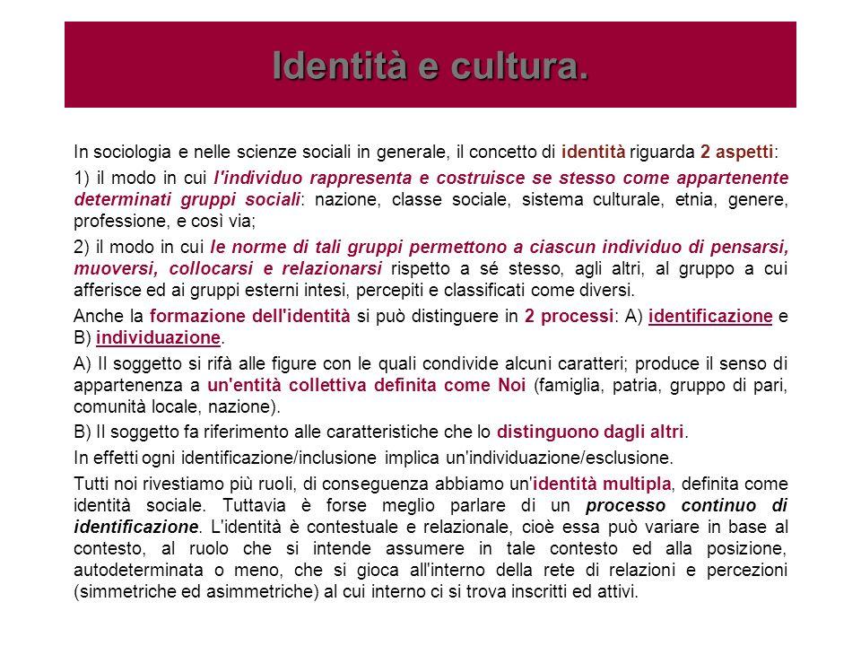 Identità e cultura.In sociologia e nelle scienze sociali in generale, il concetto di identità riguarda 2 aspetti:
