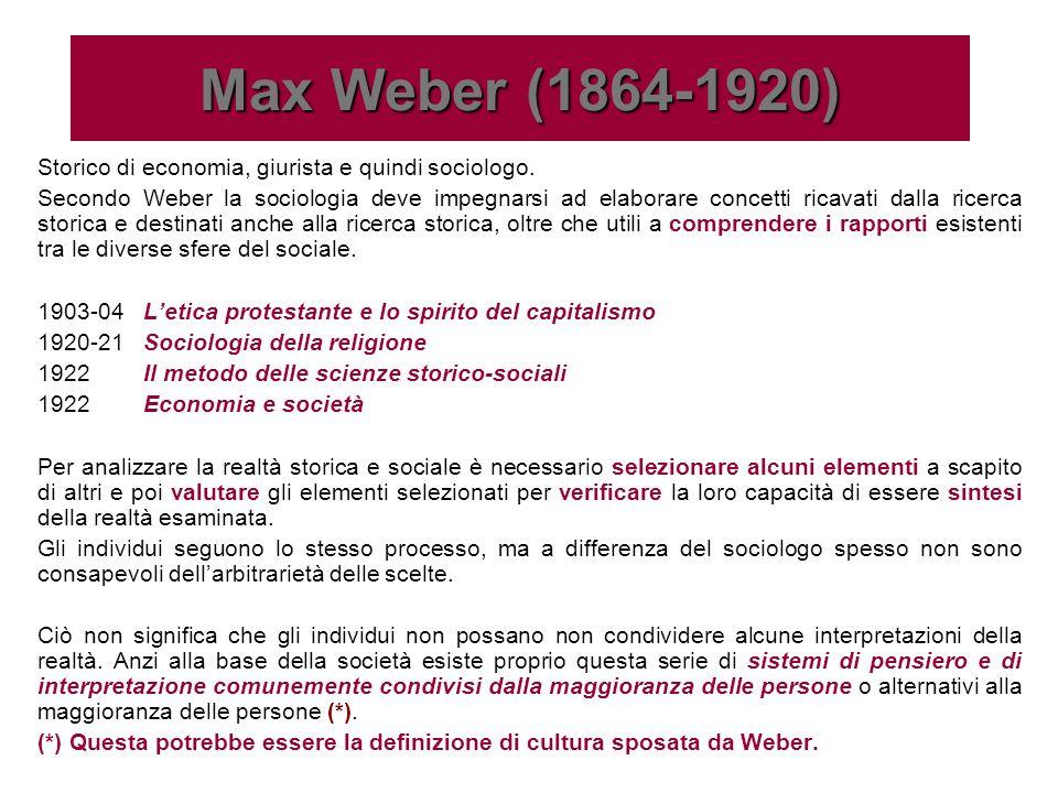 Max Weber (1864-1920)Storico di economia, giurista e quindi sociologo.