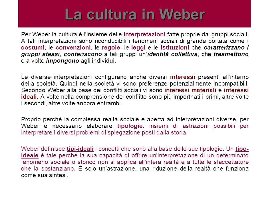 La cultura in Weber