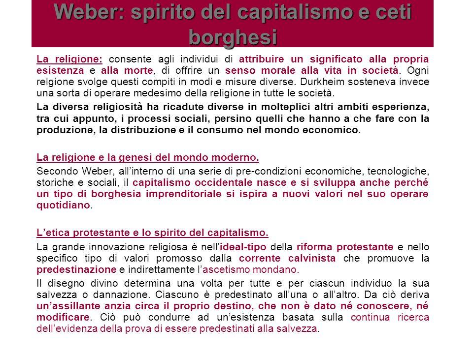 Weber: spirito del capitalismo e ceti borghesi