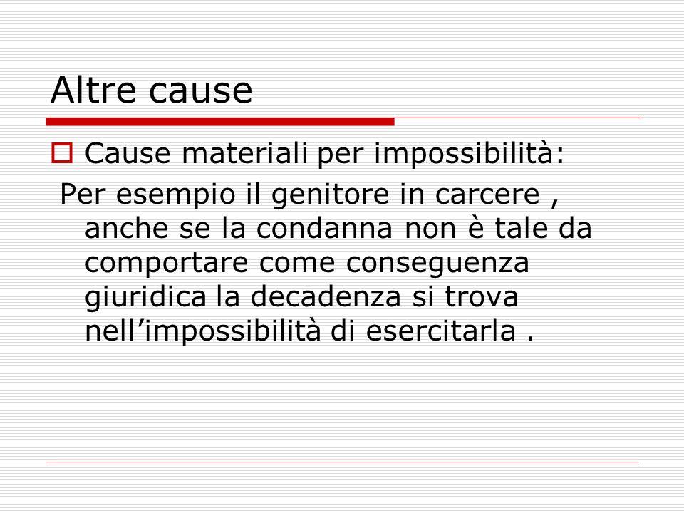 Altre cause Cause materiali per impossibilità: