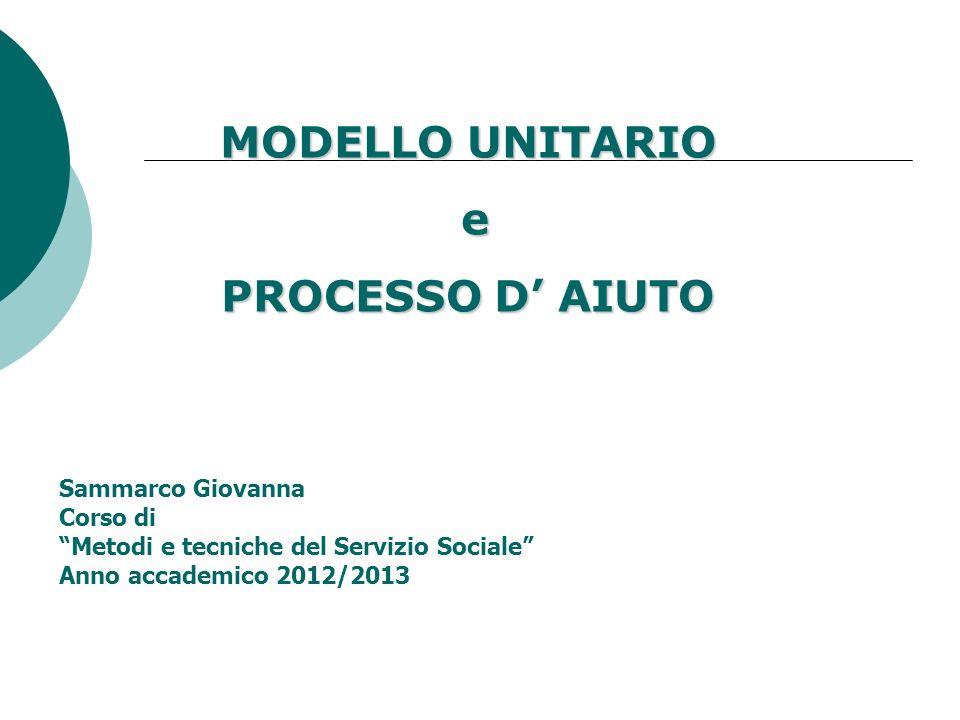 MODELLO UNITARIO e PROCESSO D' AIUTO