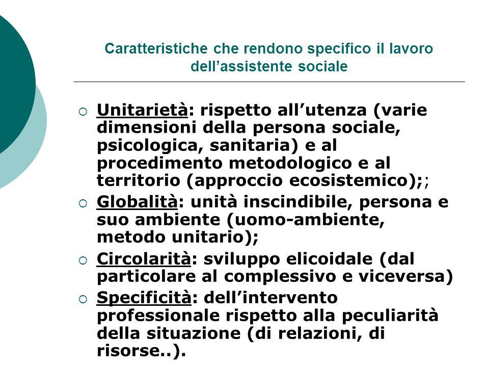 Caratteristiche che rendono specifico il lavoro dell'assistente sociale