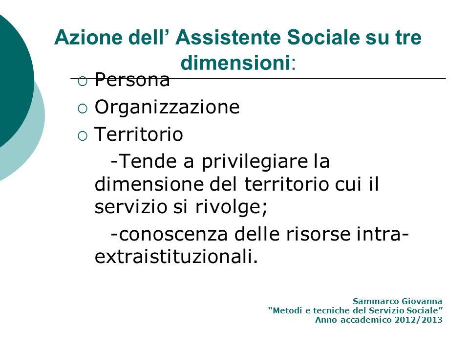 Azione dell' Assistente Sociale su tre dimensioni: