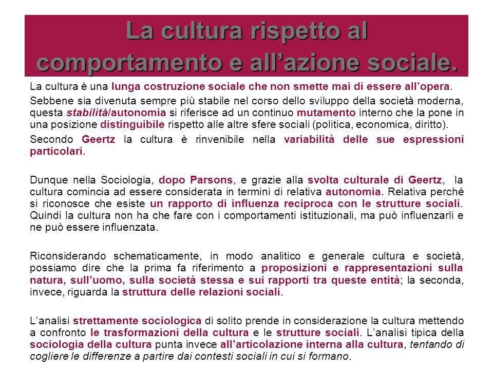La cultura rispetto al comportamento e all'azione sociale.