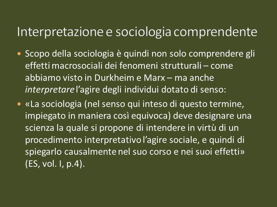 Interpretazione e sociologia comprendente