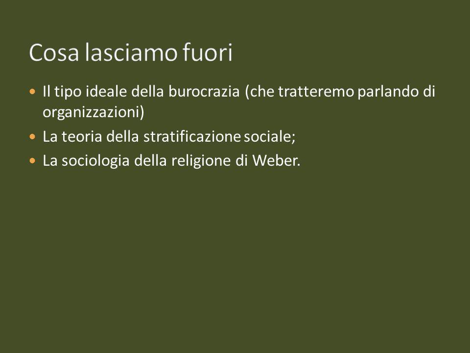 Cosa lasciamo fuori Il tipo ideale della burocrazia (che tratteremo parlando di organizzazioni) La teoria della stratificazione sociale;