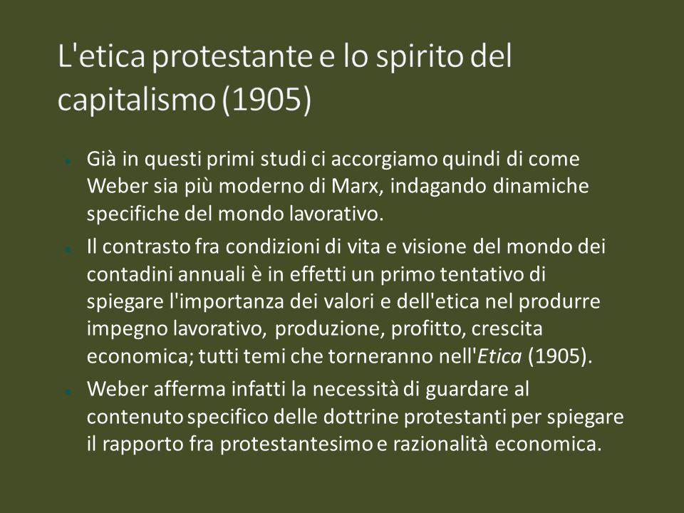 L etica protestante e lo spirito del capitalismo (1905)