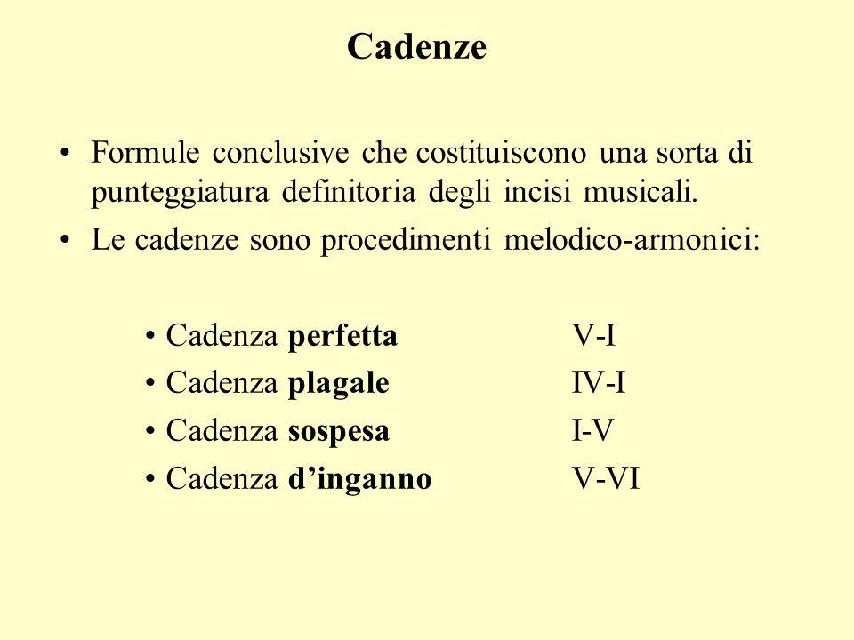 Cadenze Formule conclusive che costituiscono una sorta di punteggiatura definitoria degli incisi musicali.
