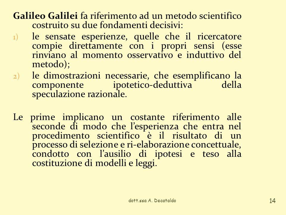 Galileo Galilei fa riferimento ad un metodo scientifico costruito su due fondamenti decisivi: