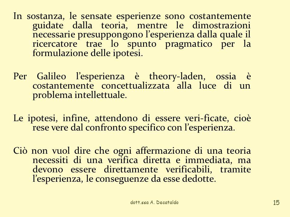 In sostanza, le sensate esperienze sono costantemente guidate dalla teoria, mentre le dimostrazioni necessarie presuppongono l'esperienza dalla quale il ricercatore trae lo spunto pragmatico per la formulazione delle ipotesi. Per Galileo l'esperienza è theory-laden, ossia è costantemente concettualizzata alla luce di un problema intellettuale. Le ipotesi, infine, attendono di essere veri-ficate, cioè rese vere dal confronto specifico con l'esperienza. Ciò non vuol dire che ogni affermazione di una teoria necessiti di una verifica diretta e immediata, ma devono essere direttamente verificabili, tramite l'esperienza, le conseguenze da esse dedotte.