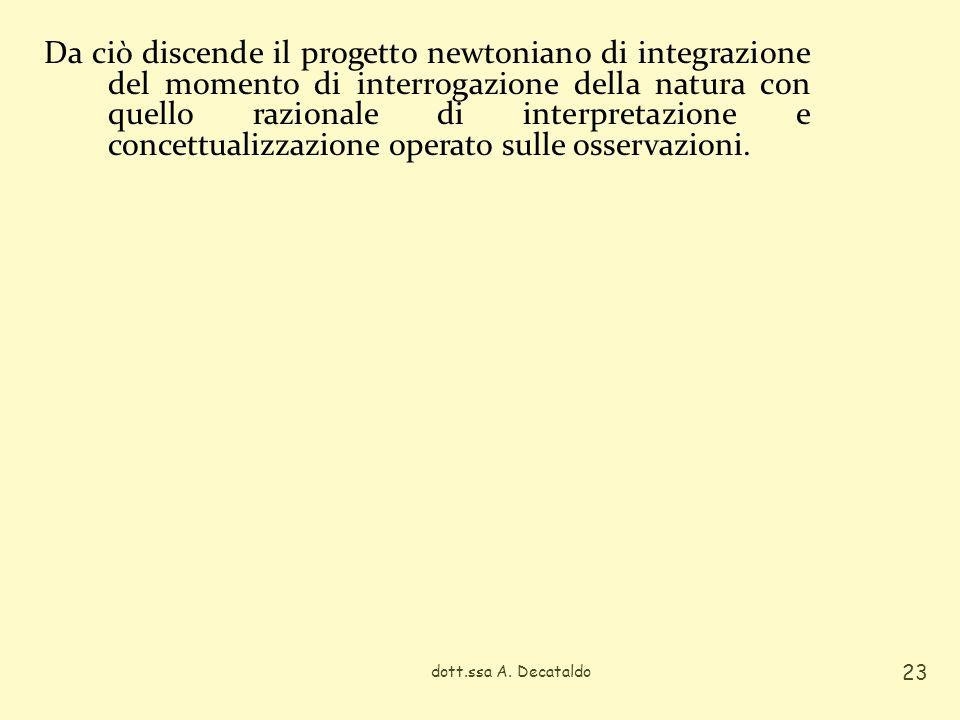 Da ciò discende il progetto newtoniano di integrazione del momento di interrogazione della natura con quello razionale di interpretazione e concettualizzazione operato sulle osservazioni.