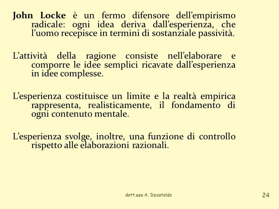 John Locke è un fermo difensore dell'empirismo radicale: ogni idea deriva dall'esperienza, che l'uomo recepisce in termini di sostanziale passività. L'attività della ragione consiste nell'elaborare e comporre le idee semplici ricavate dall'esperienza in idee complesse. L'esperienza costituisce un limite e la realtà empirica rappresenta, realisticamente, il fondamento di ogni contenuto mentale. L'esperienza svolge, inoltre, una funzione di controllo rispetto alle elaborazioni razionali.