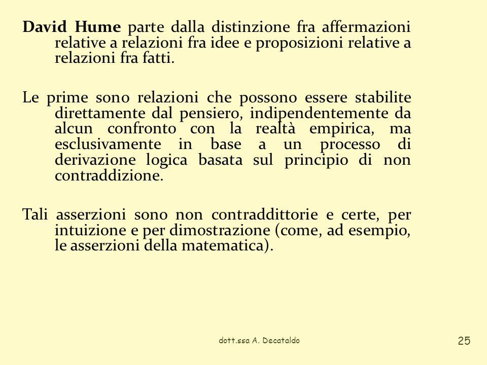 David Hume parte dalla distinzione fra affermazioni relative a relazioni fra idee e proposizioni relative a relazioni fra fatti. Le prime sono relazioni che possono essere stabilite direttamente dal pensiero, indipendentemente da alcun confronto con la realtà empirica, ma esclusivamente in base a un processo di derivazione logica basata sul principio di non contraddizione. Tali asserzioni sono non contraddittorie e certe, per intuizione e per dimostrazione (come, ad esempio, le asserzioni della matematica).
