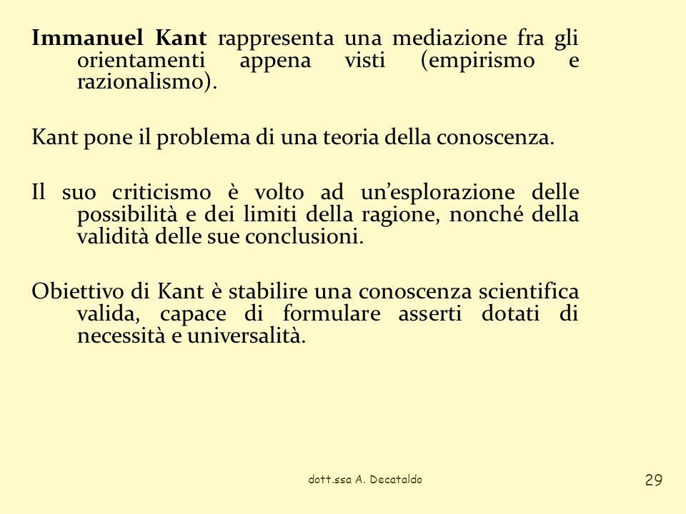 Immanuel Kant rappresenta una mediazione fra gli orientamenti appena visti (empirismo e razionalismo). Kant pone il problema di una teoria della conoscenza. Il suo criticismo è volto ad un'esplorazione delle possibilità e dei limiti della ragione, nonché della validità delle sue conclusioni. Obiettivo di Kant è stabilire una conoscenza scientifica valida, capace di formulare asserti dotati di necessità e universalità.