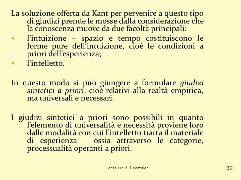 La soluzione offerta da Kant per pervenire a questo tipo di giudizi prende le mosse dalla considerazione che la conoscenza muove da due facoltà principali: