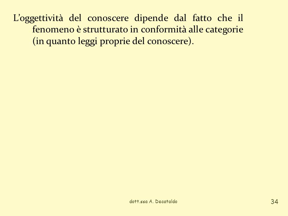 L'oggettività del conoscere dipende dal fatto che il fenomeno è strutturato in conformità alle categorie (in quanto leggi proprie del conoscere).