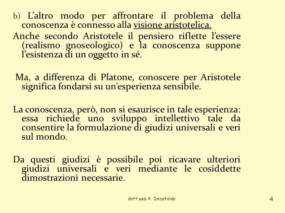 b) L'altro modo per affrontare il problema della conoscenza è connesso alla visione aristotelica.