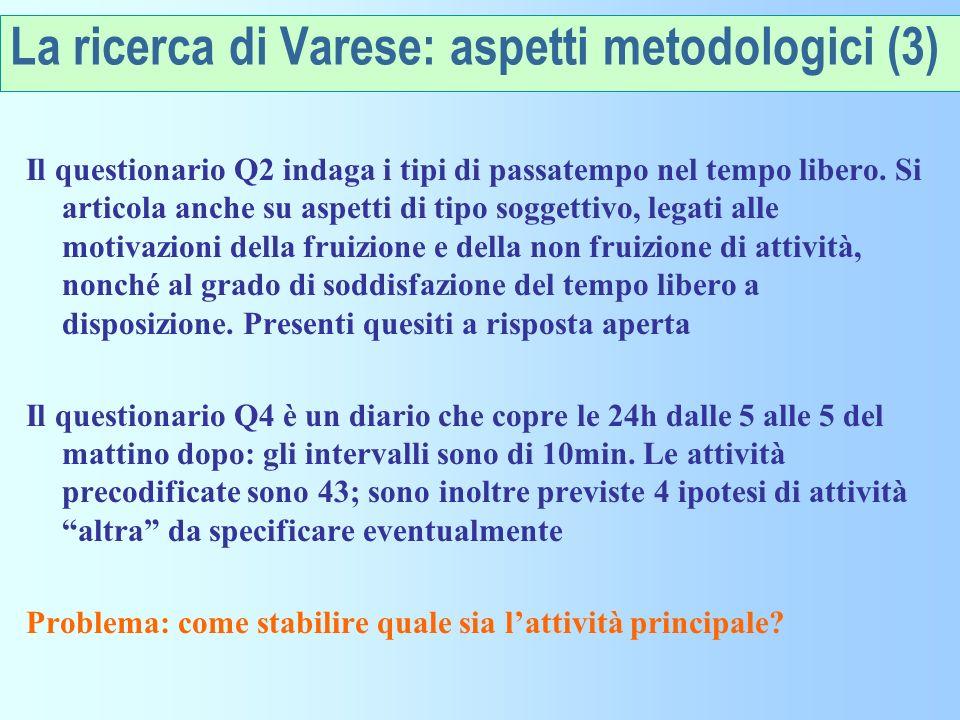 La ricerca di Varese: aspetti metodologici (3)