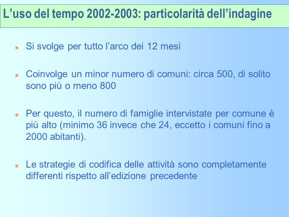 L'uso del tempo 2002-2003: particolarità dell'indagine