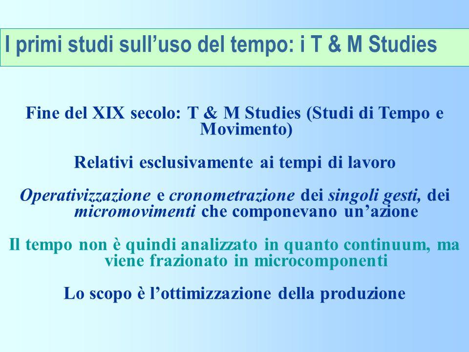 I primi studi sull'uso del tempo: i T & M Studies