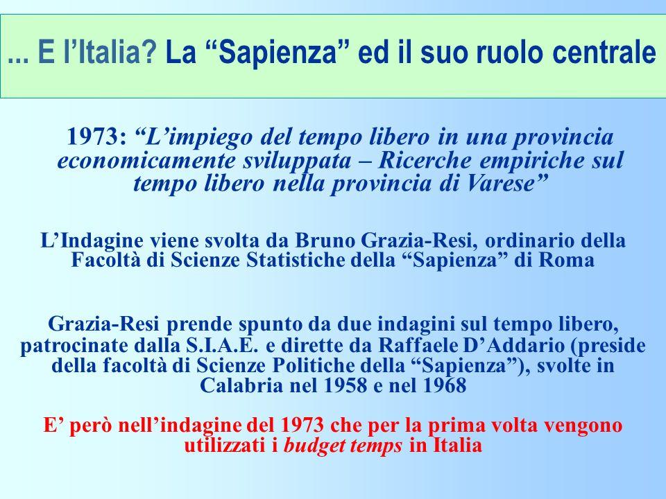 ... E l'Italia La Sapienza ed il suo ruolo centrale