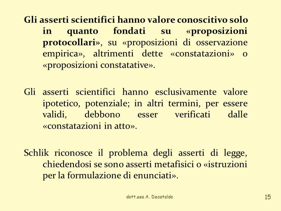 Gli asserti scientifici hanno valore conoscitivo solo in quanto fondati su «proposizioni protocollari», su «proposizioni di osservazione empirica», altrimenti dette «constatazioni» o «proposizioni constatative».