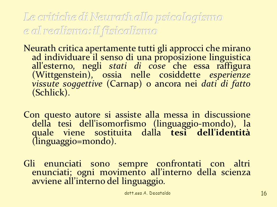 Le critiche di Neurath allo psicologismo e al realismo: il fisicalismo