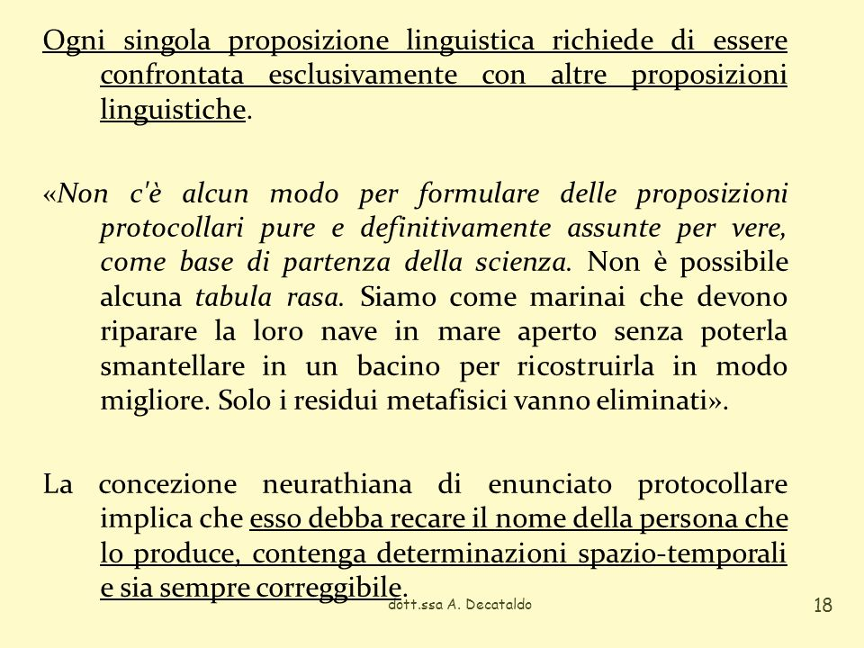 Ogni singola proposizione linguistica richiede di essere confrontata esclusivamente con altre proposizioni linguistiche.