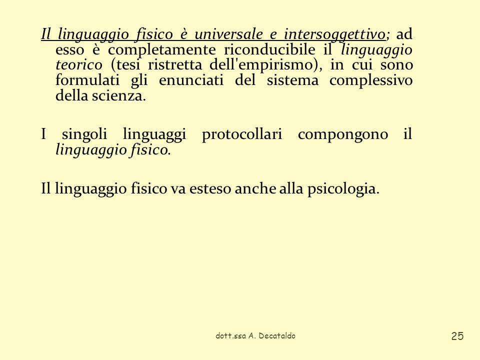 I singoli linguaggi protocollari compongono il linguaggio fisico.