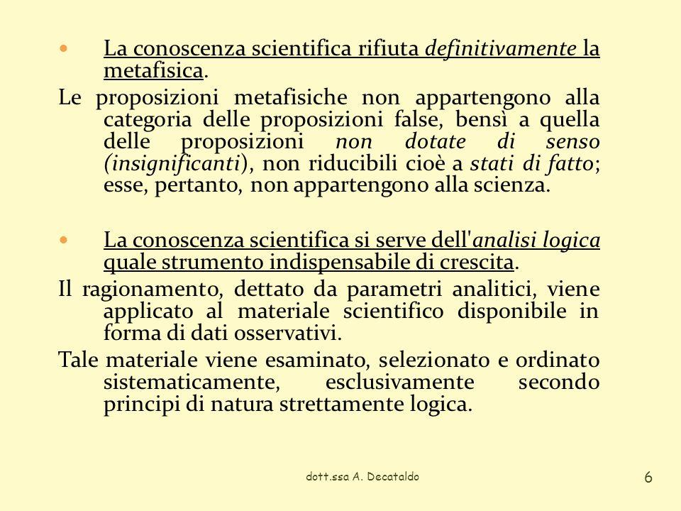 La conoscenza scientifica rifiuta definitivamente la metafisica.