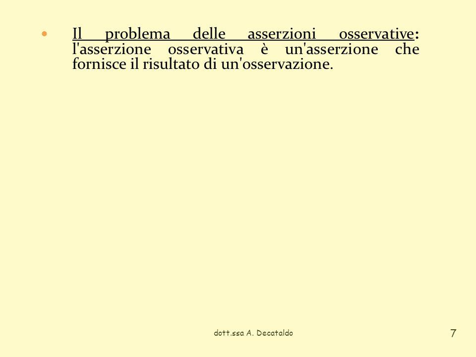 Il problema delle asserzioni osservative: l asserzione osservativa è un asserzione che fornisce il risultato di un osservazione.